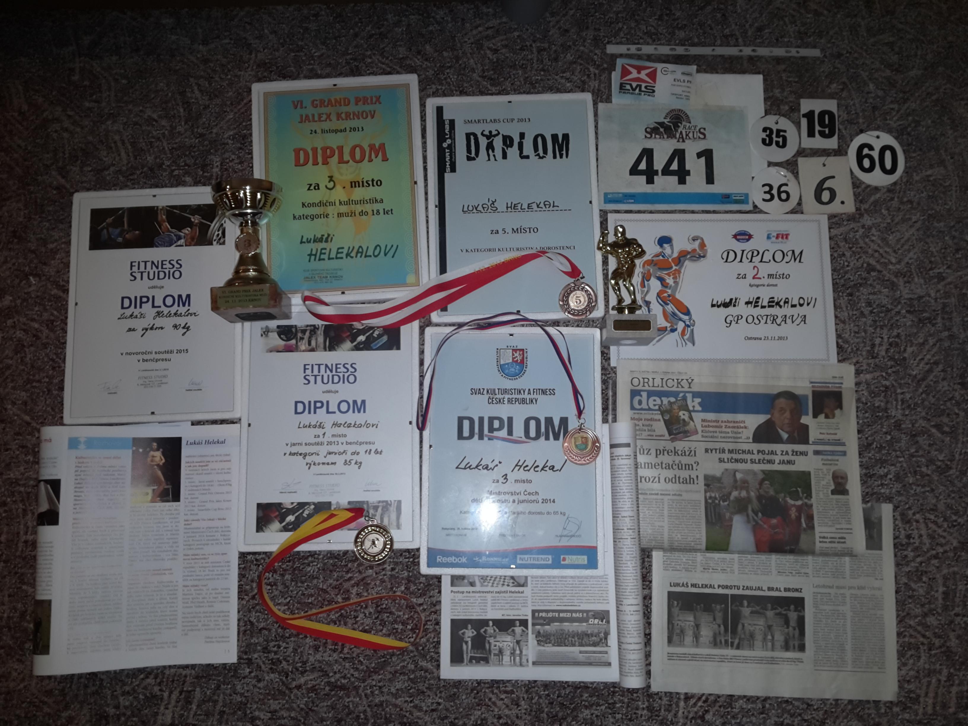 Diplomy, poháry, rozhovory a články z novin